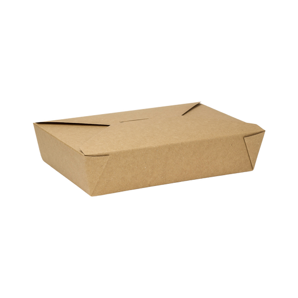 Kraft Microwavable Folded Paper #2 Take-Out Container - Karat Medium Fold-To-Go Box - 54oz - 7.8