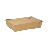 "Kraft Microwavable Folded Paper #2 Take-Out Container - Karat Medium Fold-To-Go Box - 54oz - 7.8"" X 5.5"" X 1.8"" - 200 Count-Restaurant Supply Drop"