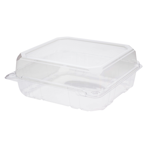8''x8'' Hinged Containers - Large Clamshell Takeout Boxes - Karat PET Plastic - 250 count-To-Go Packaging-Karat-Restaurant Supply Drop