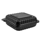 8''x8'' Black Hinged Containers - Large Black Clamshell Takeout Boxes - Karat PP Plastic - 250 count-Restaurant Supply Drop