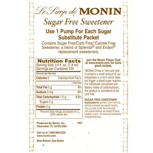 Monin Sugar Free Sweetener Syrup Bottle 1 Liter Coffee Shop Supplies Carry Out Containers Bubble Tea Supplies