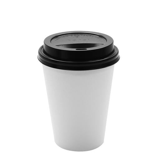 Paper Coffee Cups with Lids - 12 oz White with Black Sipper Dome Lids (90mm)-Cups & Lids-Karat-Carry Out Supplies