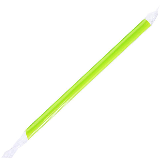 Plastic Straws 9'' Bubble Tea Straws (10mm) Poly Wrapped - Green - 1,600 count-Straws & Stirrers-Karat-Carry Out Supplies