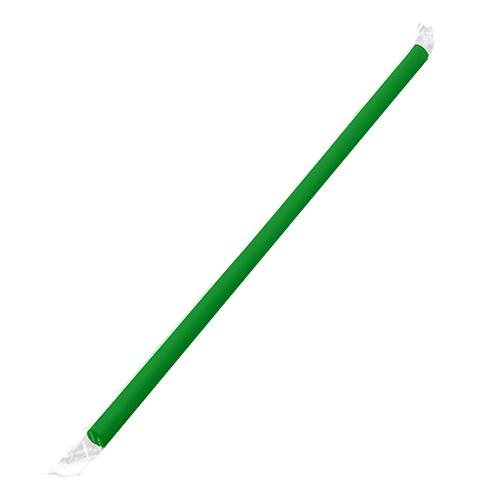 Plastic Straws 9'' Giant Straws (8mm) Poly Wrapped - Green - 2,500 count-Straws & Stirrers-Karat-Carry Out Supplies