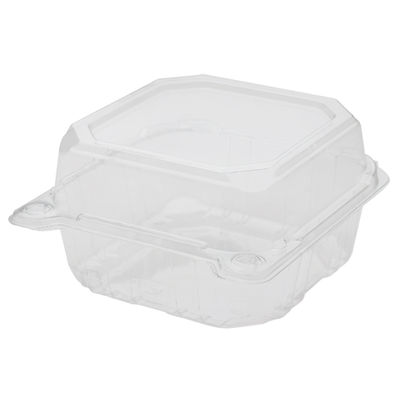6'' x 6'' Hinged Containers - Small Clamshell Takeout Boxes - Karat PET Plastic - 500 ct-To-Go Packaging-Karat-Restaurant Supply Drop