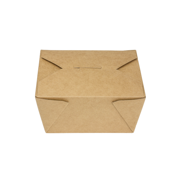 Kraft Microwavable Folded Paper #1 Takeout Boxes - Karat Small Fold-To-Go Container - 30oz - 4.3