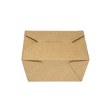 "Kraft Microwavable Folded Paper #1 Takeout Boxes - Karat Small Fold-To-Go Container - 30oz - 4.3"" X 3.5"" X 2.4"" - 450 Count-Restaurant Supply Drop"