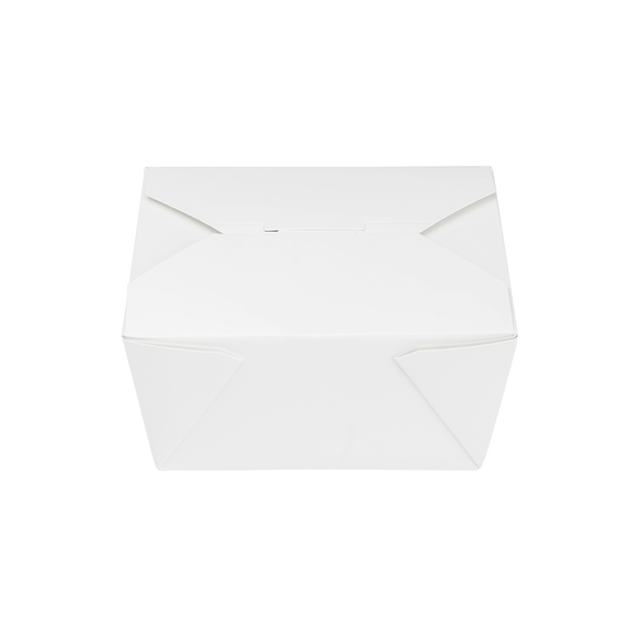 White Microwavable Folded Paper #1 Takeout Boxes - Karat Small Fold-To-Go Container - 30oz - 4.3