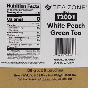 Tea Zone White Peach Green Tea - 50 Bags-Tea Leaves-Tea Zone-Carry Out Supplies