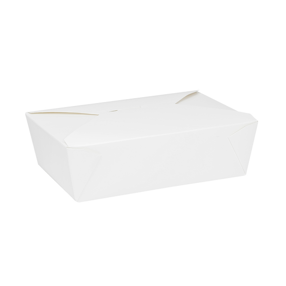 White Microwavable Folded Paper #3 Take-Out Container - Karat Large Fold-To-Go Box - 76oz - 7.8