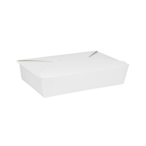 "White Microwavable Folded Paper #2 Take-Out Container - Karat Fold-To-Go Box - 54oz - 7.8"" X 5.5"" X 1.8"" - 200 Count-Restaurant Supply Drop"