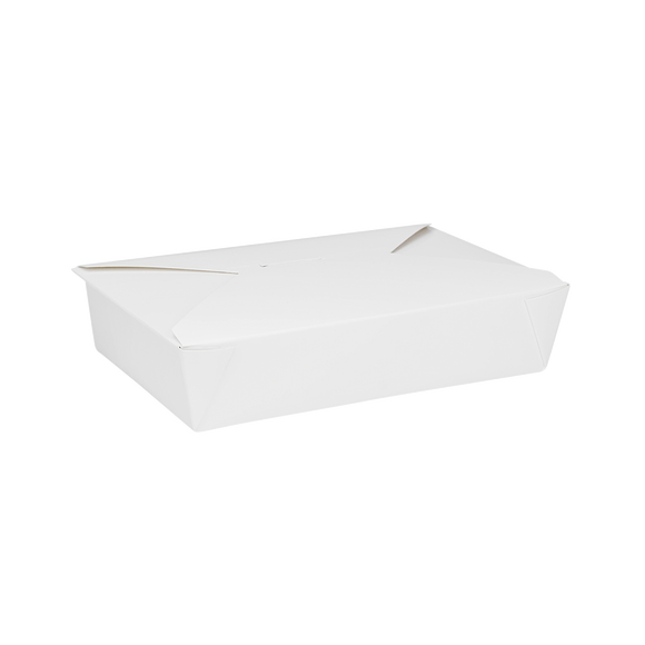 White Microwavable Folded Paper #2 Take-Out Container - Karat Fold-To-Go Box - 54oz - 7.8