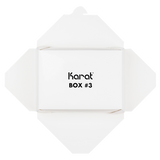 "White Microwavable Folded Paper #3 Take-Out Container - Karat Large Fold-To-Go Box - 76oz - 7.8"" X 5.5"" X 2.4"" - 200 Count-Restaurant Supply Drop"