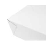 "White Microwavable Folded Paper #8 Take-Out Container - Karat Fold-To-Go Box - 48oz - 5.9"" X 4.6"" X 2.4"" - 300 Count-Restaurant Supply Drop"
