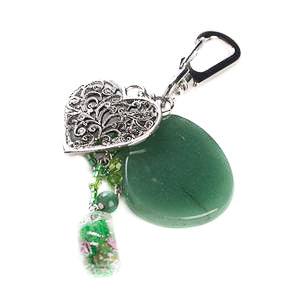 Aventurine Heart Bag Charm