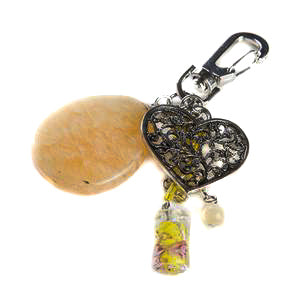 Honey Jade Heart Bag Charm