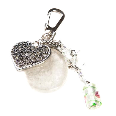 Clear Quartz Heart bag Charm