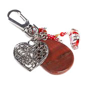 Red Jasper Heart Bag Charm