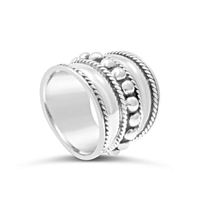Sterling Silver Plait Edge and Balls Ring 925SS
