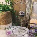 Serenity Chevron Amethyst Hanging Sphere On Stand