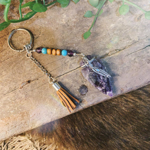 Amethyst Arrowhead Key Ring