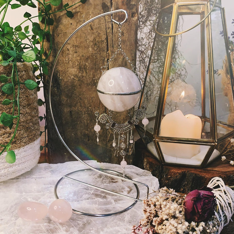 Love Rose Quartz Hanging Sphere On Stand