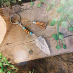 Clear Quartz Arrowhead Key Ring