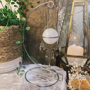 Energy Clear Quartz Hanging Sphere On Stand