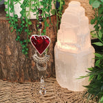Garnet Stained Glass Heart Suncatcher