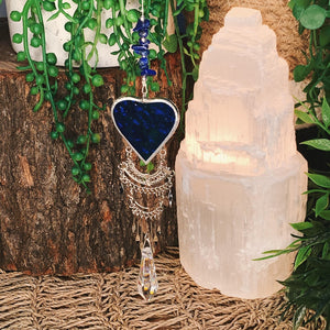Lapis Lazuli Stained Glass Heart Suncatcher