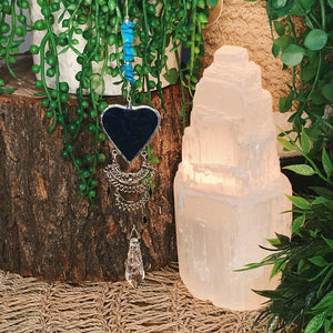 Blue Howlite Stained Glass Heart Suncatcher