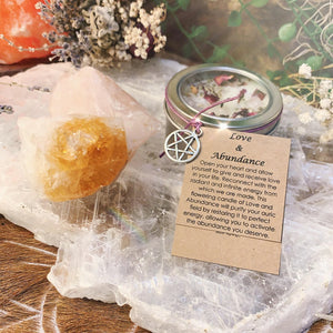 Love & Abundance Wish Candle With Rose Quartz