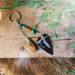 Obsidian Arrowhead Key Ring
