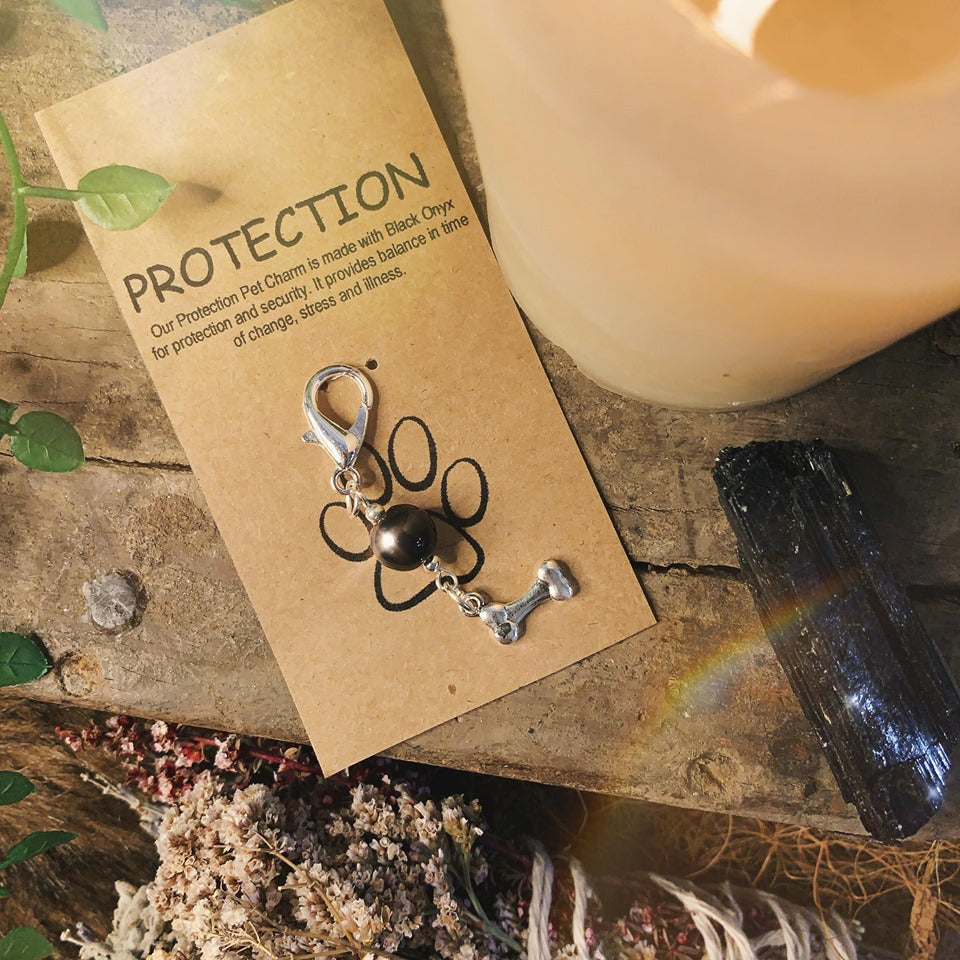 Protection Onyx Pet Charm With Bone