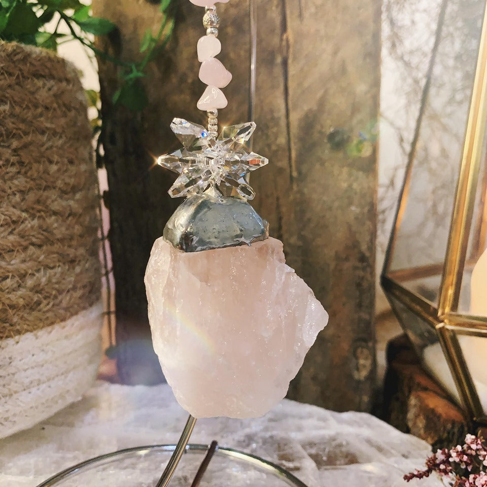 Cluster Raw Rose Quartz On Stand