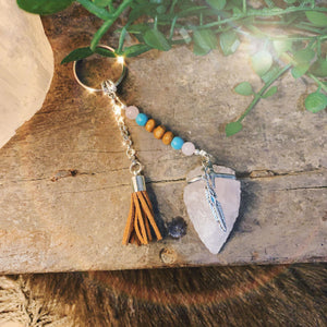 Rose Quartz Arrowhead Key Ring