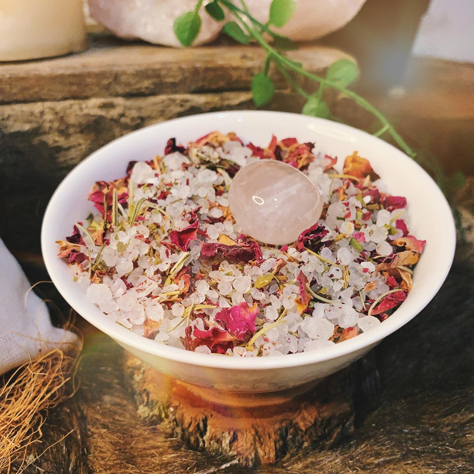 Love And Abundance Flowering Bath Salts With Rose Quartz