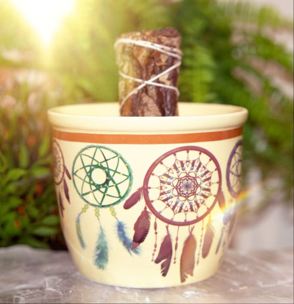 Smudging Bowl Dream Catcher With Sage Stick