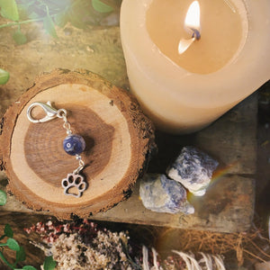 Calming Sodalite Pet Charm With Paw
