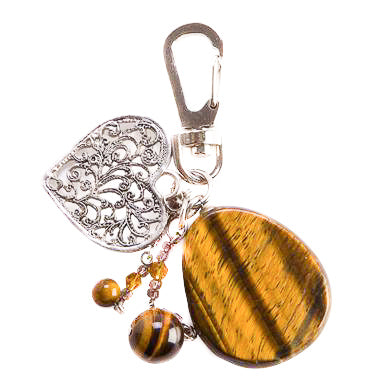 Tiger Eye Heart Bag Charm