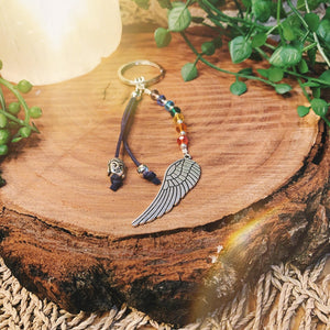 Chakra Balance Key Ring With Angel Wing Charm