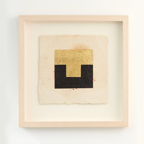 Stephen Bambury Drawing on Secret Knowledge (I) 2014 Pencil, acrylic, enamel, 23k gold on handmade Indian paper