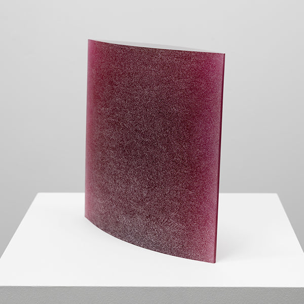 "Galia Amsel, Full 2, 2015, Cast, ground and polished ""sappharine"" gold ruby gaffer glass, 335 x 335 x 65 mm Front View"