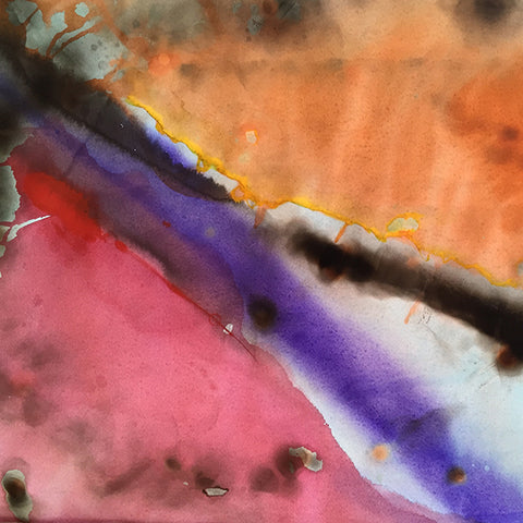 Phil Dadson, March Music 6, 2016, Mixed media/paint, ink, wax, burn and smoke marks on paper crop