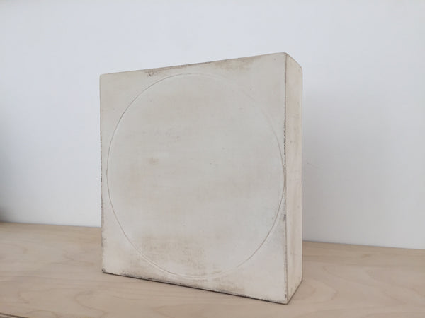 To Weigh The Fall of Words II, Timber/laminated wood, canvas, plaster and resin, 215 x 205 x 70 mm Front View