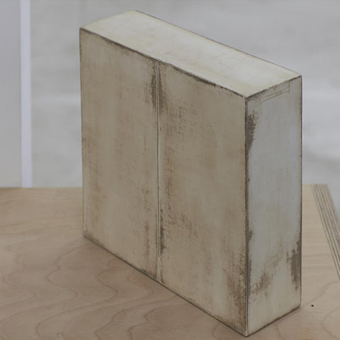Kazu Nakagawa To Weigh The Fall of Words II, Timber/laminated wood, canvas, plaster and resin, 215 x 205 x 70 mm side view