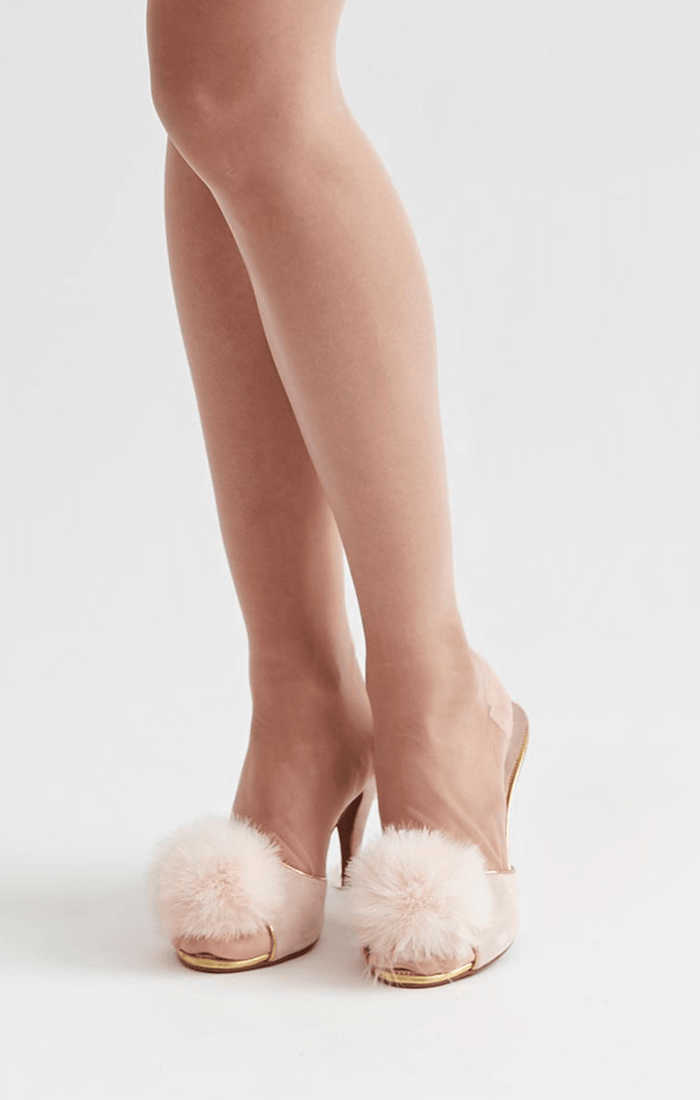 Boudoir mule slippers in blush pink with marabou feather pompoms for vintage boudoir style