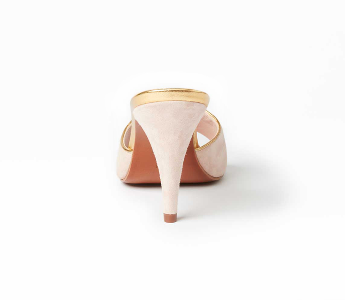 Boudoir mules heel view, in blush pink suede