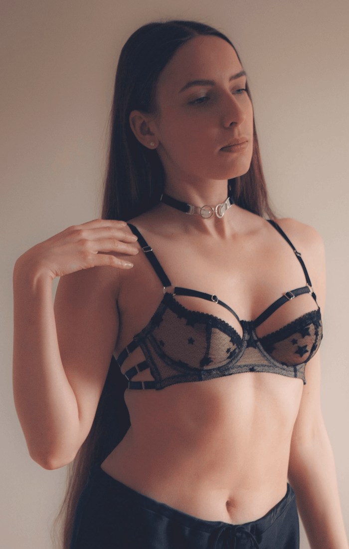 Garter clip choker worn with luxury black star lace bra with strappy details