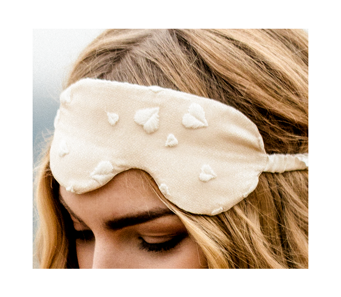 Luxury silk eye mask with heart lace and ivory silk band